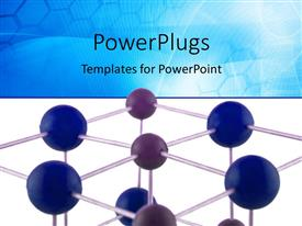 PowerPlugs: PowerPoint template with science background with network of atoms part of a NaCl molecule isolated over a blue and white background
