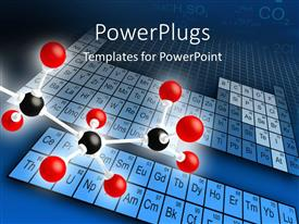 PowerPoint template displaying science concepts of molecular structure with element periodic table