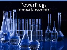 PowerPlugs: PowerPoint template with science research laboratory with test tubes, vials, flasks in blue with black background