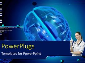 PowerPlugs: PowerPoint template with a scientist with a brain in the background