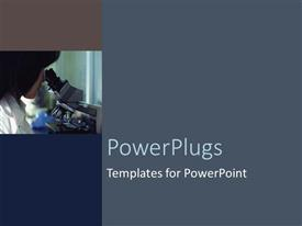 PowerPlugs: PowerPoint template with a scientist looking through the microscope