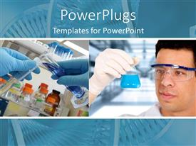 PowerPlugs: PowerPoint template with scientist, man mixing different test tube materials in a lab