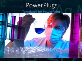 PowerPoint template displaying scientist with nose mask examines beaker with blue colored solution