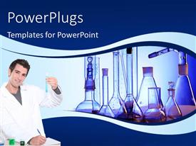 PowerPlugs: PowerPoint template with a scientist with a number of bottles in the background