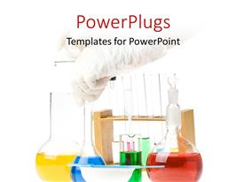 PowerPoint template displaying scientist performing experiment in laboratory with colored solutions in flasks and beakers