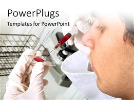 PowerPlugs: PowerPoint template with a scientist testing the blood with laboratory in the background