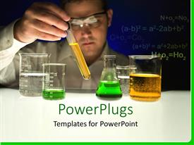 PowerPlugs: PowerPoint template with a scientist testing various chemicals in lab