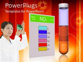 PowerPlugs: PowerPoint template with scientist in white lab coat and safety goggles examining container of fluid next to color chart and test tube