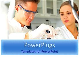 PowerPlugs: PowerPoint template with scientists conducting experiments related to chemicals
