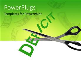 PowerPlugs: PowerPoint template with scissors cutting the deficit with greenish background