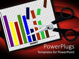 PowerPlugs: PowerPoint template with scissors cutting through a bar chart on a paper