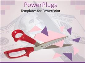 PowerPoint template displaying scissors and various card pieces along with dollar note in the background