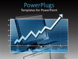 PowerPoint template displaying a screen in the background with a graph in front