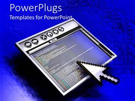 PowerPlugs: PowerPoint template with screen with internet browser and large classic cursor on it