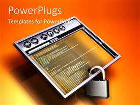 PowerPlugs: PowerPoint template with a screen which is locked and orange background