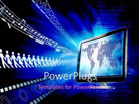 PowerPlugs: PowerPoint template with a screen with the map of the world and bluish background