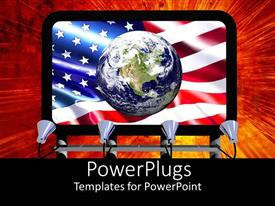 PowerPlugs: PowerPoint template with screen showing an earth globe with an American flag