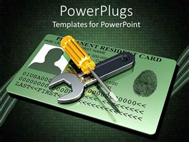 PowerPoint template displaying screw driver sitting across wrench on top of green thumb print credit card on dark background