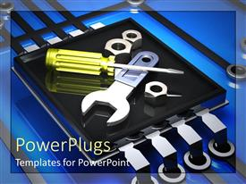 PowerPlugs: PowerPoint template with screwdriver and wrench is placed on microchip with blue background