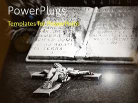 PowerPlugs: PowerPoint template with sculpture of Jesus on cross with holy book on grave