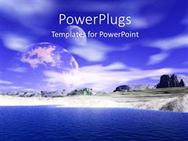 PowerPlugs: PowerPoint template with a sea with a number of mountains