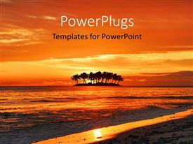 PowerPlugs: PowerPoint template with the sea with a number of palm trees and sunset in the background