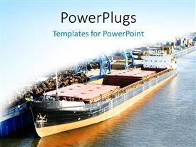 PowerPoint template displaying sea ship at the port on a white and blue background