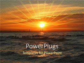 PowerPlugs: PowerPoint template with a sea tide with a sun in the background