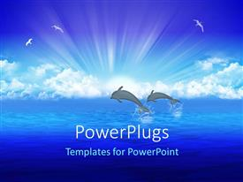 PowerPlugs: PowerPoint template with a sea and two dolphins with clouds in the background