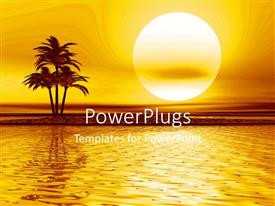 PowerPlugs: PowerPoint template with a sea with a umber of palm trees and sun in the background