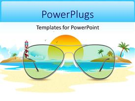 PowerPlugs: PowerPoint template with sea view through sun glasses placed on beach sand