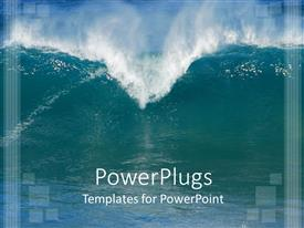 PowerPlugs: PowerPoint template with sea water with large wave and huge sprays of water forming the top of a heart shape