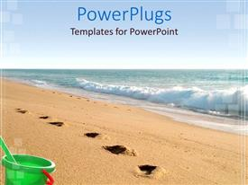 PowerPlugs: PowerPoint template with sea water and sandy beach with footprints and green bucket
