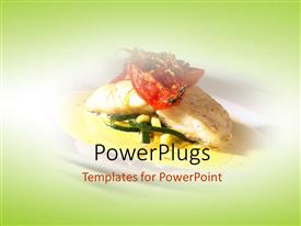 PowerPoint template displaying seafood main course dinner in restaurant with green color