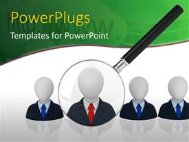 PowerPlugs: PowerPoint template with search glass hovering on human icon over white background