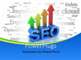 PowerPlugs: PowerPoint template with search Engine Optimization with 3D arrows rising and search keywords