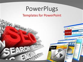 PowerPoint template displaying search engine optimization with 3D SEO symbol and computer screens