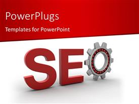 PowerPlugs: PowerPoint template with search Engine Optimization depiction with cog wheel as letter O