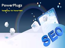 PowerPlugs: PowerPoint template with search engine optimization depiction with colored chart and web