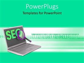 PowerPlugs: PowerPoint template with search Engine Optimization depiction with magnifying glass over laptop
