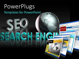 PowerPlugs: PowerPoint template with search engine optimization depiction with monitor screens and globe