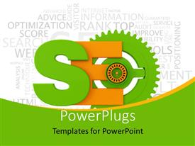PowerPoint template displaying search engine optimization symbol with various keywords in the background