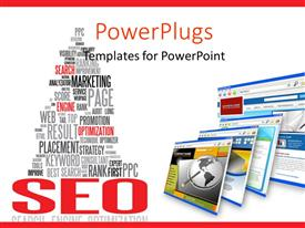 PowerPoint template displaying search Engine Optimization texts with computer monitor screens