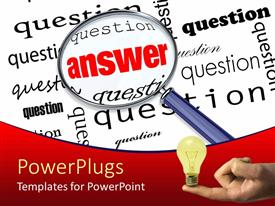 PowerPlugs: PowerPoint template with search glass looking for answer amidst several questions