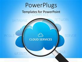 PowerPlugs: PowerPoint template with search glass looking into cloud services