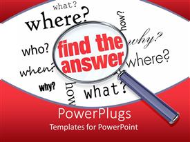 PowerPlugs: PowerPoint template with search glass on notepad with text find the answer