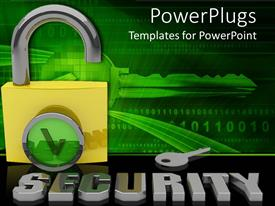 PowerPlugs: PowerPoint template with a secure internet system with a key and its reflection in the background