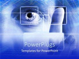 PowerPlugs: PowerPoint template with security theme with fingerprint scan and eye scan on blue security background