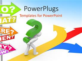 PowerPlugs: PowerPoint template with a number of colorful arrows with bluish background