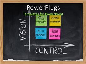 PowerPoint template displaying self-management matrix as function of vision and control with victim responder, crazy maker vision,